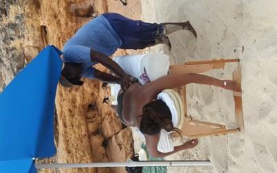 Swedish massage at cupecoy beach.